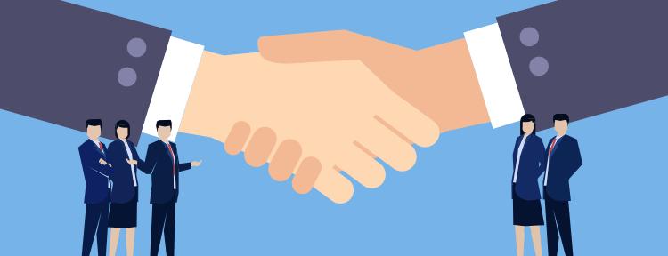 握手をしているイラスト